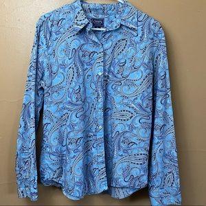 Chaps Blue Paisley Button down Shirt Size XL N-19